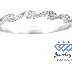 Solid Diamond Fine Twisted Wedding Band White Gold